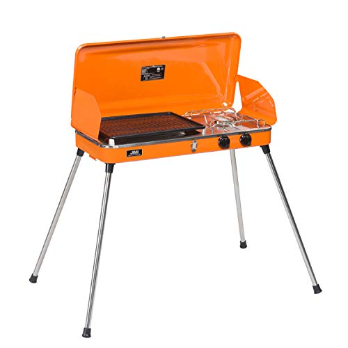 DOIT Outdoor Portable Gas Grill with Stand for BBQ & Camping,2 Burner,Grill with Hose and Adapter (Orange)