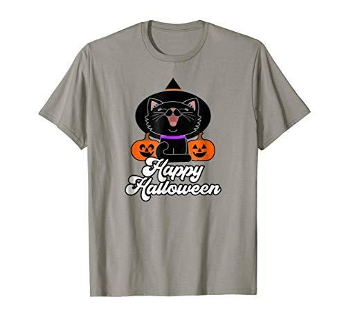 Cute Happy Halloween Black Cat T-shirt Witch Hat Pumpkins -