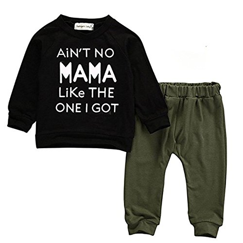 Baby Kids Toddler Boy Printed Tops Pants Leggings Outfits Clothes Set 0-3 Y (7-12 Months, Black)