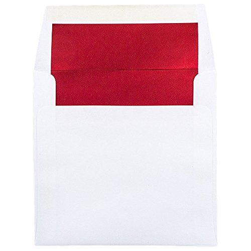 (JAM PAPER 8.5 x 8.5 Square Foil Lined Invitation Envelopes - White with Red Foil - 25/Pack)