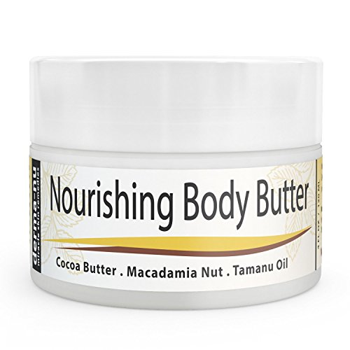 Cocoa Butter Cream - Organic Body Butter Moisturizer for Dry Skin – Use on Stretch Marks & Scars - Rich in Natural Oils & Plant Extracts Such as Macadamia Nut Oil + Tamanu Oil + Aloe | 4oz