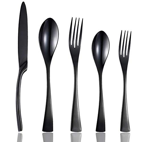 Culterman 20 Piece Flatware Silverware Cutlery Sets, unique modern look, Home & Kitchen Stainless Steel Dinnerware/Tableware/Utensils Sets For 4, Include Knives/Forks/Spoons, Dishwasher Safe (Black,4)