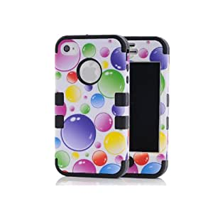 Canica-5S02 3in1 Beautiful Bubbles Hybrid Cover Case Suitable Fit For iPhone 5 5S Black