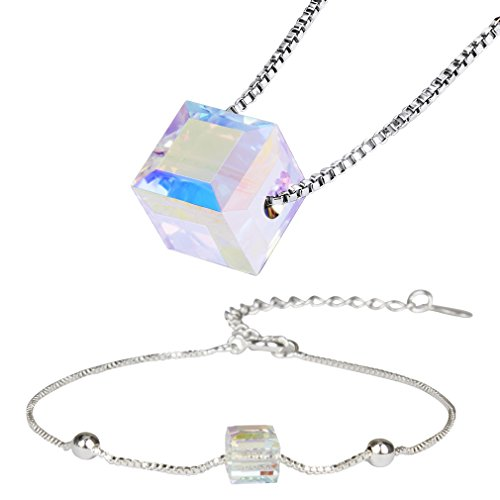 Crystal Swarovski Austrian Cube (ANBALA Austrian Crystal Cubic Cube Pendant Necklace Bracelet Charm Jewelry Sets for Women Girls)