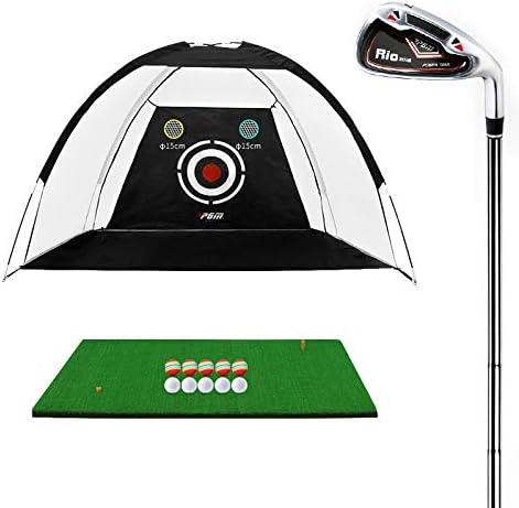 Entrenamiento de Golf en Interiores y Exteriores PGM Campo de ayudas de Entrenamiento Indoor Sports Net Golpear la práctica 2m, Golpear con Mat & Seven-Hierro (Negro)
