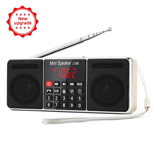 PRUNUS J-288 AM/FM Radio Portable, Hands-Free Bluetooth Radio Stereo Speaker with Sleep Timer, Power-Saving Display, Ultra-Long Antenna, AUX Input & USB Disk & TF Card MP3 Player(Gold)