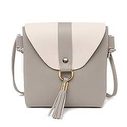 New Pu Leather Women Bucket Shoulder Bag Fashion Panelled Tassel Crossbody Bag Female Messenger Small Handbags