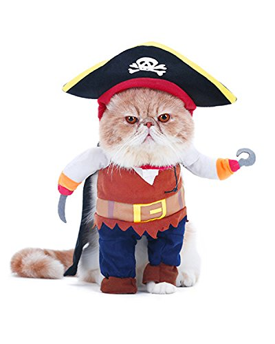 Sushi Cat Roll Costume (Spring fever Cool Pet Clothes Caribbean Pirate Dog Suit Halloween Cat Corsair Costume)