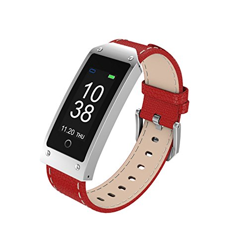 BTwear Fitness Tracker, Y2 Waterproof Smart Wristband with Heart Rate and Blood Pressure Monitor for Android and iOS Smartphone (Red)
