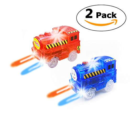 Track Train (2-Pack), Multi-color Light Up Flashing LED Glow in the Dark Trains Accessories Compatible with Most Tracks Including Neo & Magic Track, Boys and Girls (Red & Blue)