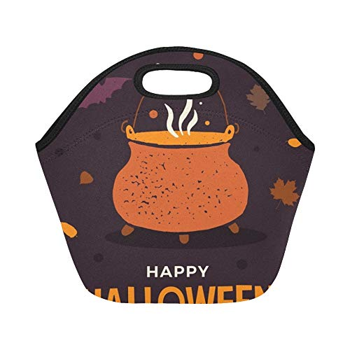 Insulated Neoprene Lunch Bag Halloween Witchs Pot Boiling