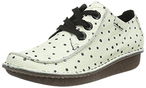 Dream Derby Funny Bianco White Scarpe Clarks Donna Stringate Leather Black IqdwT65