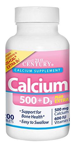 21st Century Calcium 500 Plus Extra D Caplets, 200 Count