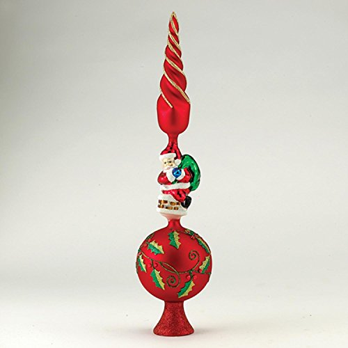 Pack of 3 Glass Red, Gold and Green with Santa Christmas Tree Topper 16'' by KSA