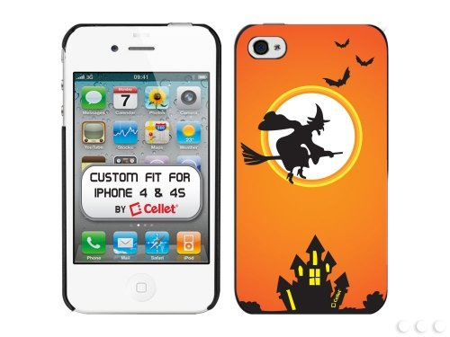 Cellet Proguard Back Cover for Apple iPhone 4 & 4S, Halloween House & Witch -