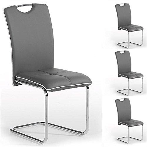 lot de 4 chaises de salle manger eleonora pitement chrom revtement synthtique gris liser blanc - Chaise Salle A Manger Gris
