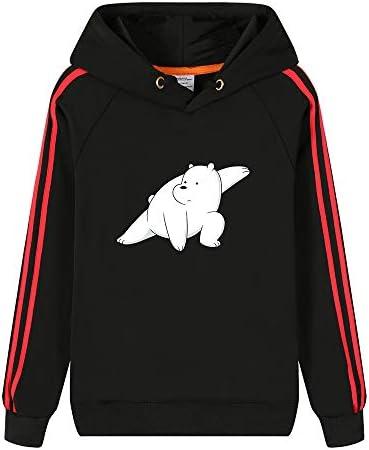 Vhunkjnr We Bare Bears Pullover Moda Sudadera con Capucha Simple cómodo Animado impresión Sudadera for Hombres y Mujeres Unisex