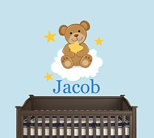 Custom Name Baby Teddy Bear In The Cloud With Stars - Baby Boy / Girl - Wall Decal Nursery For Home Bedroom Children (21