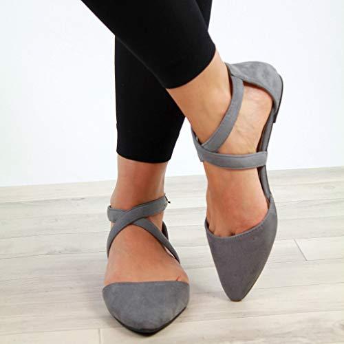 De Sandales Zolimx Plante Chaussures Croix Chaussure Bouche Fille Sexy Strap De Boucle Filles Flats Plage Gris De 1gnwgRqC4