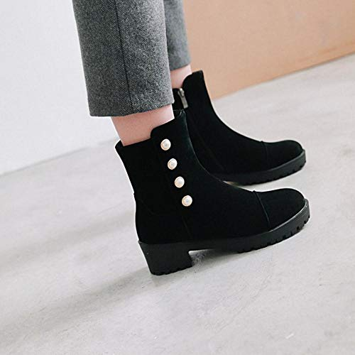 Pearl KemeKiss Toe Black Women Platform Short Boots Round TTHSCRwq