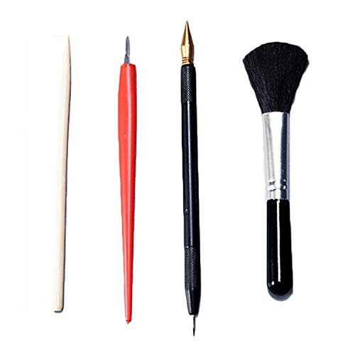 Scratch Tools,Migavenn Scratch Art Design Tools Scratch Arts Set with Stick Scraper Pen Black Brush for Scratch Sketch Art Painting Papers Sheets Painting Drawing Boards 4psc