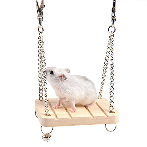 Gotian Hamster Swing Toys, Pet Hamster Mouse Wood Swing Hammock Play Toys Small Animal Cage Hanging Seesaw -