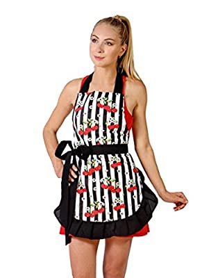 Pretty & Cute Apron for Women with Sexy Stylish and Vintage Look. Great for gift by Red Cherry Blossoms