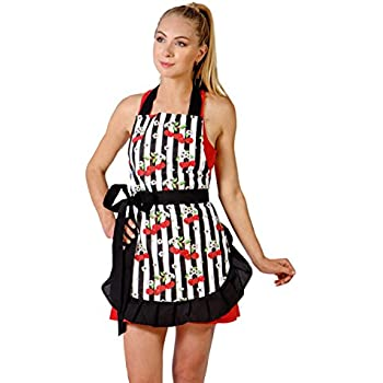 Flirty Cooking Apron for Women with Stylish Sexy and Vintage Look. Great for Gift (Black Trim)