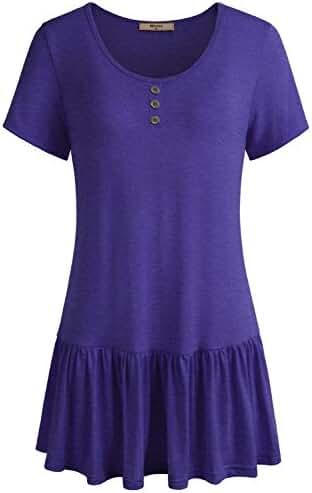 Miusey Women's Round Neck Short Sleeve Flowy Ruffle Hem Tunic Tops Casual Henley Shirt