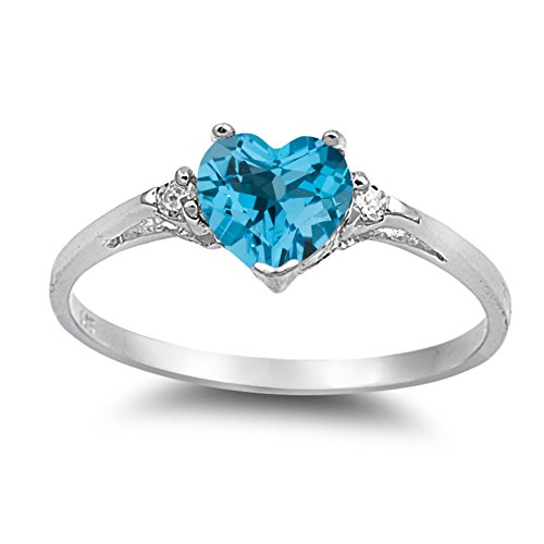 925 Sterling Silver Faceted Natural Genuine Sky Blue Topaz Heart Promise Ring Size 6