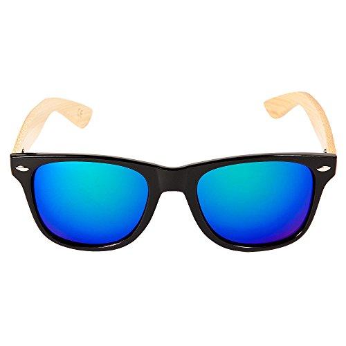 Gafas Retro azul Mujer Azul Tendencia Hombre Unisex Madera de en Sol bambú ECENCE Gafas negro 22020103 Negro de de PwdFZq