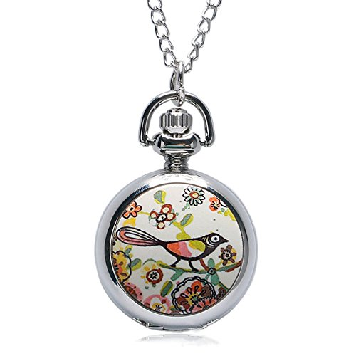 Cute Magpie Design Pocket Watch, Analog Pendant Necklace Chain, Sweater Chain from Marsbros