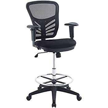 Modway Articulate Drafting Chair In Black   Reception Desk Chair   Tall Office  Chair For Adjustable