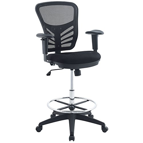 Wholesale Tables Chairs - Modway Articulate Drafting Chair In Black - Reception Desk Chair - Tall Office Chair For Adjustable Standing Desks - Drafting Table Chair