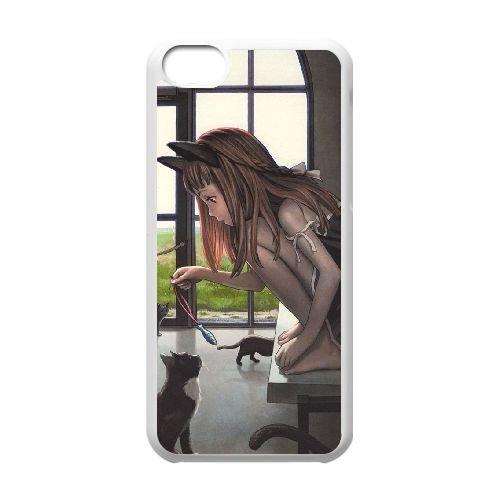 black Cat Girl Q3K37B3HL coque iPhone 5c case coque white 0RMB4I
