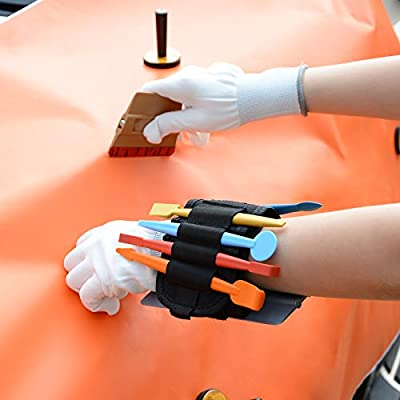 GOMAKE Professional Window Tint Tool Set Include Wrist Tool Pocket, 4 Inch Vinyl Wrap Plastic Felt Squeegee, Micro Magnet Squeegee Set, Scraper, Art Knife and Vinyl Cutter: Home Improvement