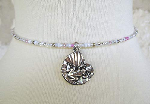 Pink Memory Wire Handmade Frog Beaded Necklace