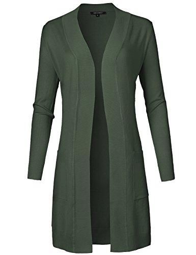 - Solid Soft Stretch Long-line Long Sleeve Open Front Knit Cardigan Olive S