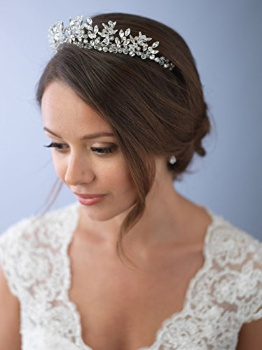 USABride Wedding Tiara Crown Swarovski Crystal & Rhinestone Floral Leaf Bridal Headpiece 3279