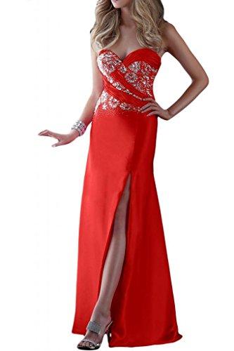 Por la noche de la moda en forma de corazón Chic Toscana novia ranura por la noche vestidos de baile de satén Prom vestidos de fiesta de largo Rojo