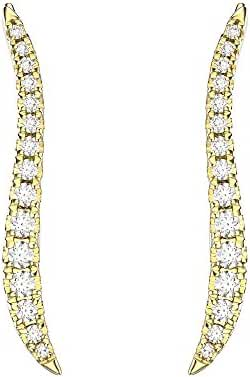 VAN LECONY 18K Gold or White Gold Plated Contour Cubic Zirconia Ear Cuffs
