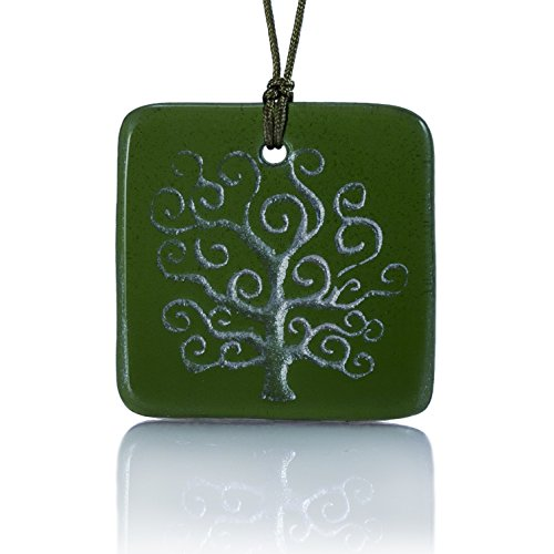 Moneta Jewelry, Recycled Glass Tree of Life Pendant Necklace, Handmade, Fair Trade, Unique Gift (Green)