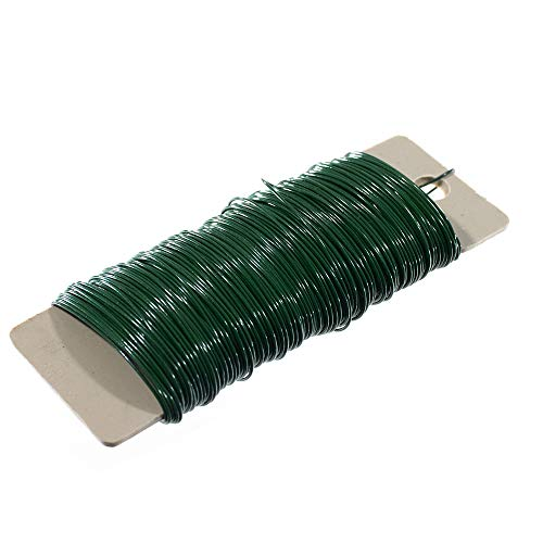 Craft County Green Floral Paddle Wire - Made of Plastic Covered Aluminum - Approximately 38 Yards - 22 Gauge Thickness - Great for Arrangements and Flower Crafts