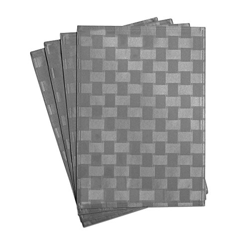 Bardwil Linens Reflections Set of 4 Placemats, Charcoal (Placemat And Napkin Sets)