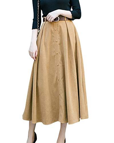 Yonglan Jupe Midi Femme Taille Haute Coupe Slim Strappy lgant Et Confortable Simple Boutonnage Jupe Trapze Kaki