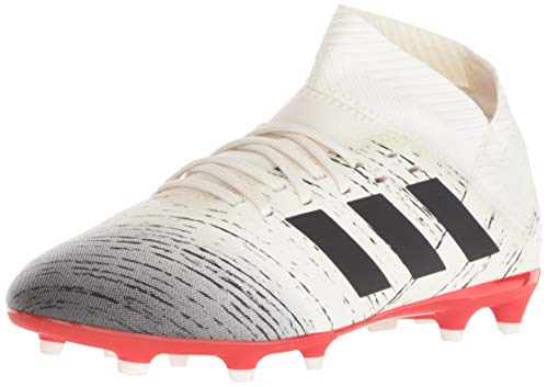 adidas Unisex Nemeziz 18.3 Firm Ground, Off Off White/Black/Active red, 3.5 M US Big Kid
