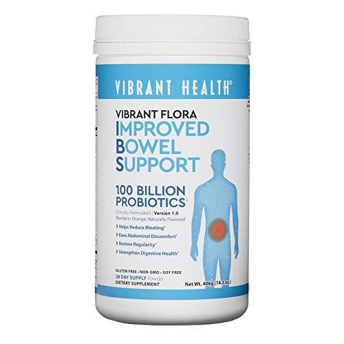 Vibrant Health - Vibrant Flora, Improved Bowel Support + Probiotics, Mandarin Orange, 28 Servings