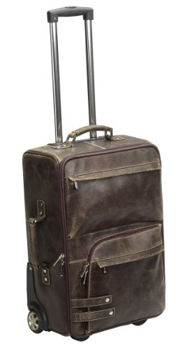"Bellino ICON Collection The Crusader 21.5"" Distressed Leather Carry On - Brown"
