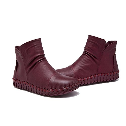 Female Boots Handmade Sewing Retro Short Thicker Plush Leather Zipper Flat Heel Warm Casual Shoes WINERED-41 9bBAnVrhAw