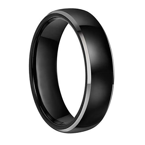 Frank S.Burton 8MM Tungsten Black Rings Wedding Band High Polish Silver Beveled Edge Flat Style Size 8.5